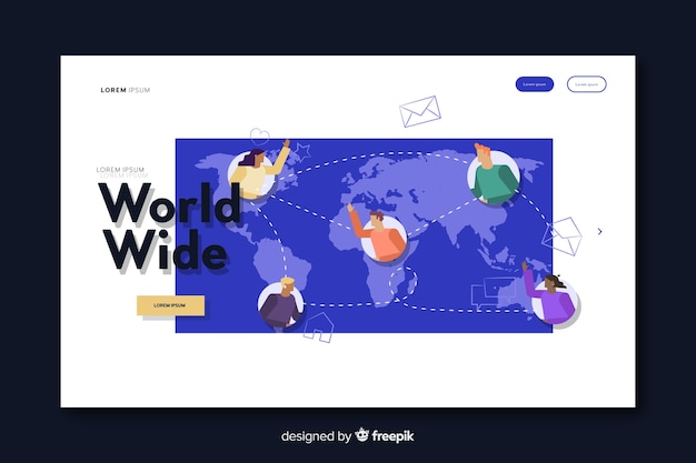 Page De Destination De Livraison Mondiale Vecteur gratuit