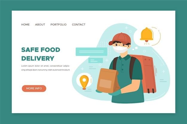 Page De Destination De Livraison De Nourriture En Toute Sécurité Vecteur gratuit