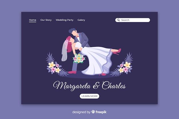 Page de destination de mariage de couple plat Vecteur gratuit