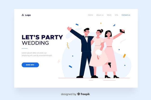Page de destination de mariage design plat Vecteur gratuit