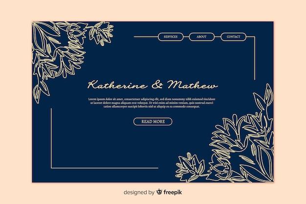 Page de destination de mariage élégant d'or Vecteur gratuit