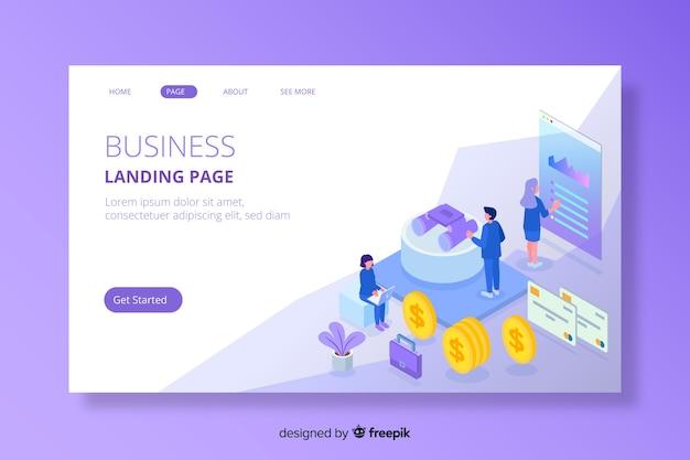 Page de destination marketing isométrique colorée Vecteur gratuit