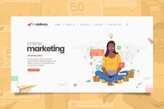 Page De Destination De Marketing En Ligne Illustrée Vecteur gratuit