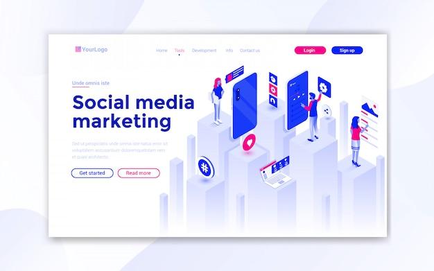Page De Destination Des Médias Sociaux Vecteur Premium