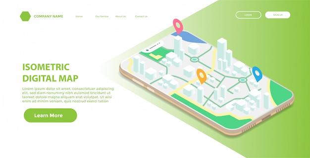Page de destination ou modèle web avec illustration isométrique de la carte numérique mobile Vecteur Premium