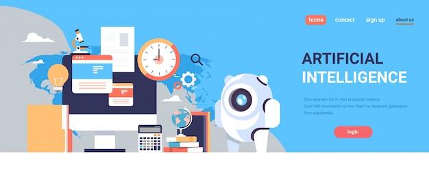 Page De Destination Ou Modèle Web Avec Illustration, Thème De L'intelligence Artificielle Vecteur Premium
