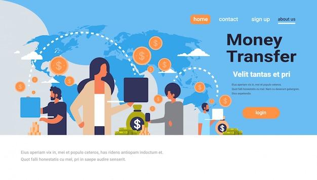 Page De Destination Ou Modèle Web Avec Illustration, Thème De Transfert D'argent Vecteur Premium