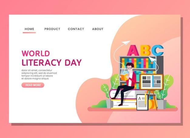 Page de destination ou modèle web. journée mondiale de l'alphabétisation avec un homme lisant un livre Vecteur Premium