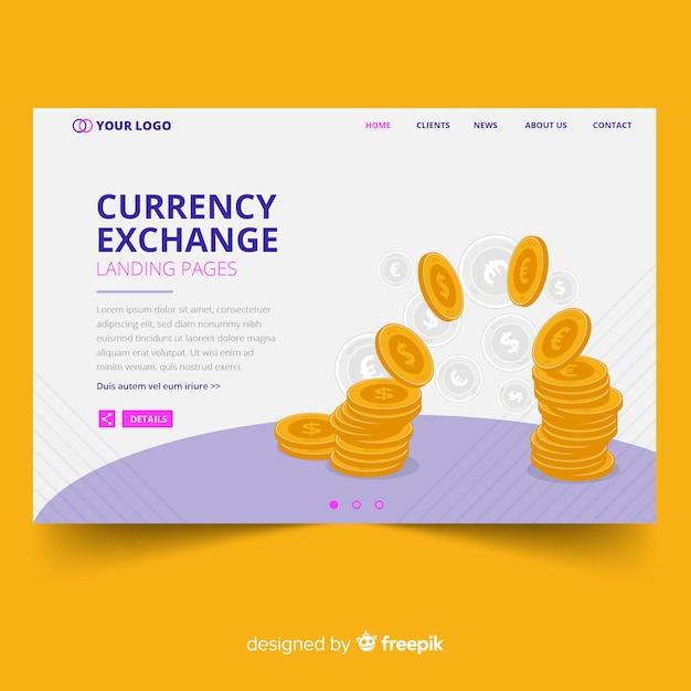 Page de destination de la monnaie Vecteur gratuit