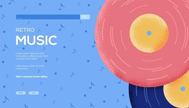 Page De Destination De La Musique Rétro Vecteur Premium