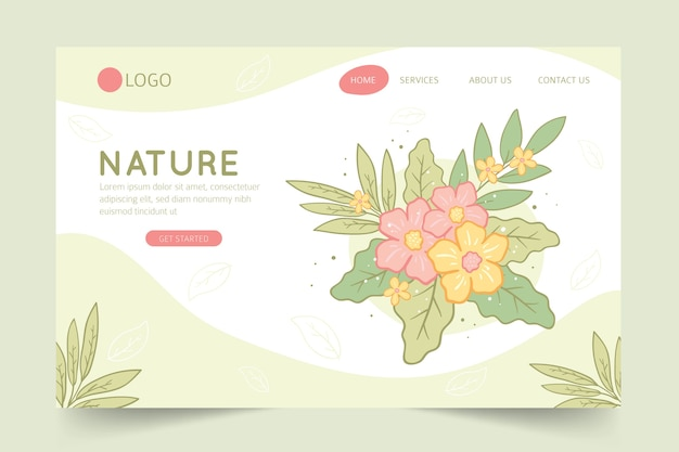 Page de destination nature dessinée à la main Vecteur gratuit