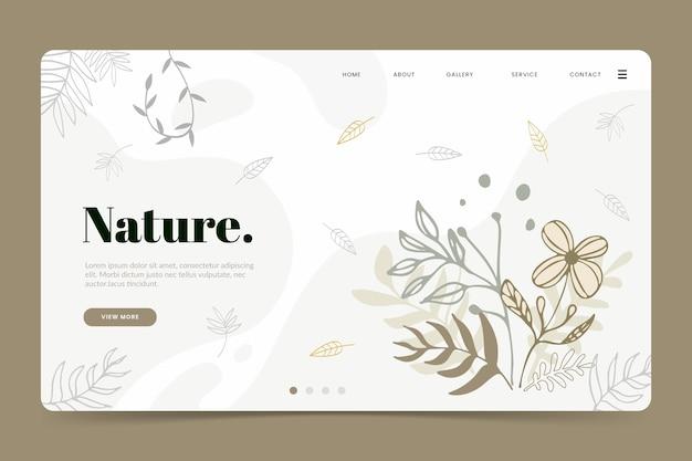 Page de destination naturelle du modèle dessiné à la main Vecteur gratuit