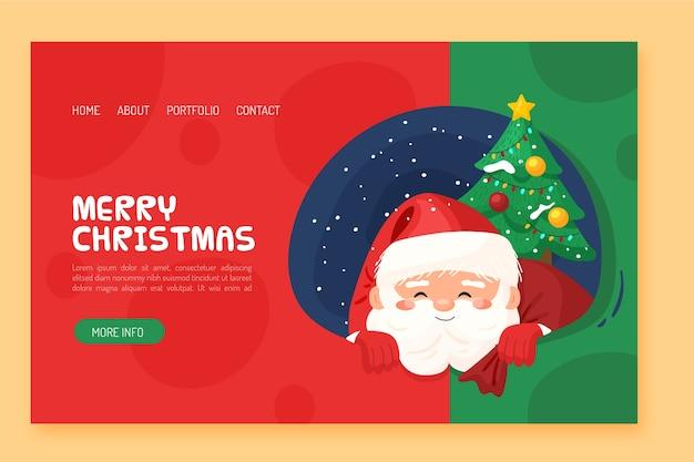 Page de destination de noël design plat avec père noël et arbre Vecteur gratuit