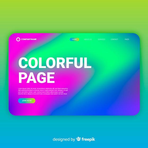 Page de destination ondulée colorée Vecteur gratuit