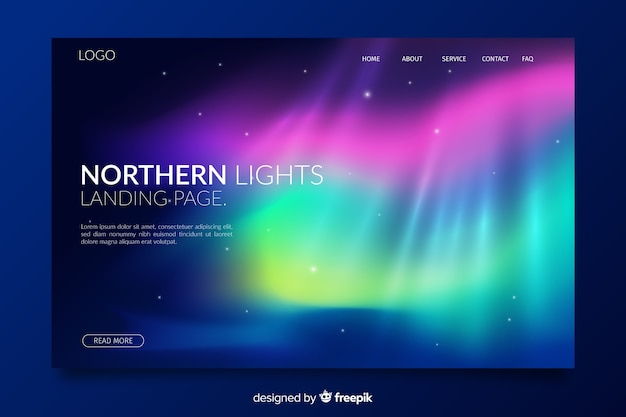 Page de destination des phares à couches superposés Vecteur gratuit