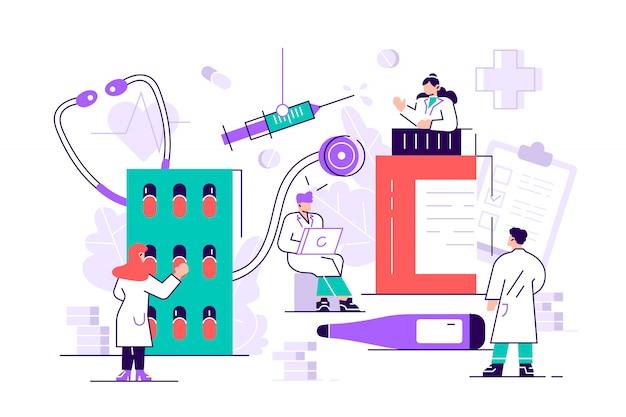 Page De Destination De La Pharmacie Du Pharmacien. Pharmacien De Soins Aux Patients. Industrie De La Médecine. Site Web Ou Page Web De Fond D'infographie De Pharmacie En Ligne. Illustration De Dessin Animé De Style Plat Moderne Vecteur Premium