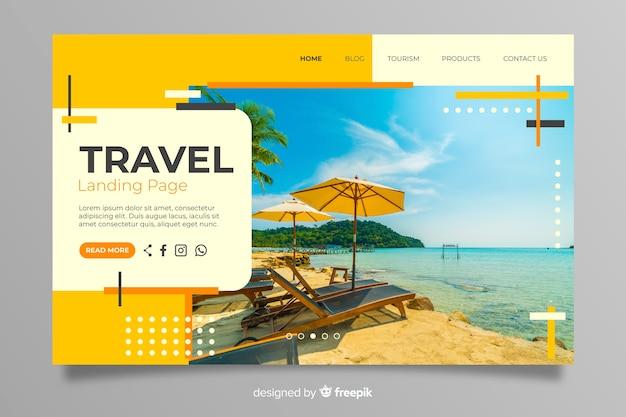 Page de destination avec photo Vecteur gratuit