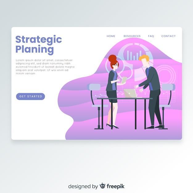Page de destination de la planification stratégique Vecteur gratuit
