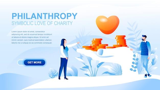 Page De Destination Plate De La Philanthropie Avec En-tête, Modèle De Bannière. Vecteur Premium