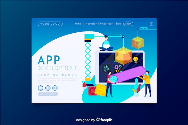 Page de destination pour le développement d'applications Vecteur gratuit