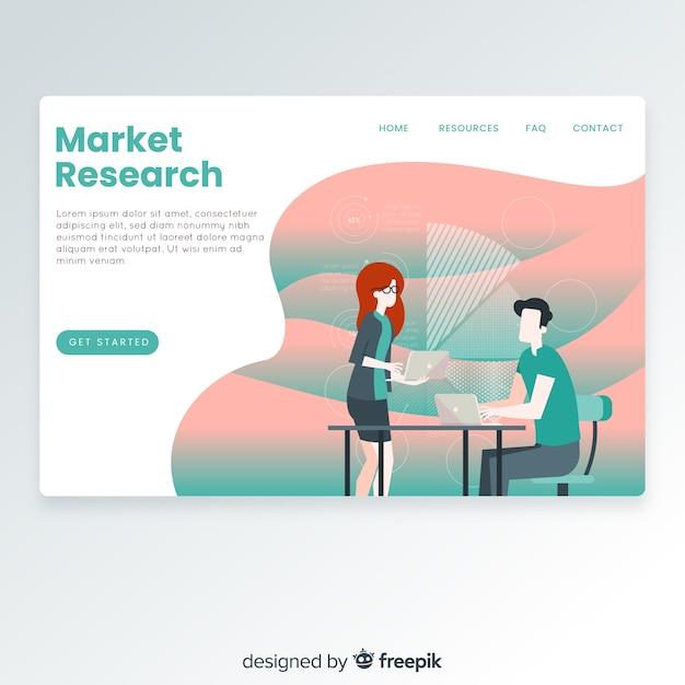 Page de destination pour étude de marché Vecteur gratuit