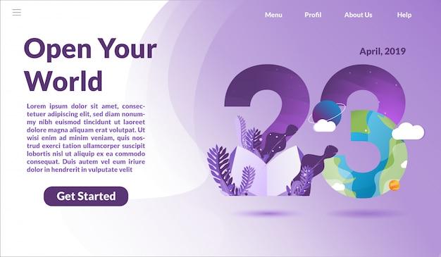 Page de destination pour la journée internationale du livre Vecteur Premium