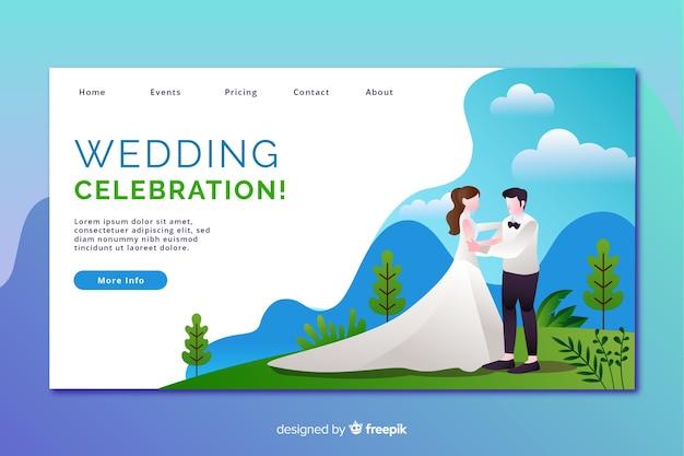 Page de destination pour mariage design plat avec personnages Vecteur gratuit