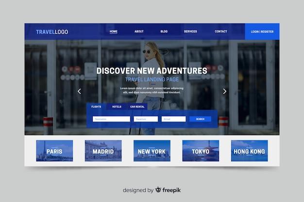 Page de destination pour site web itinérant avec photo Vecteur gratuit