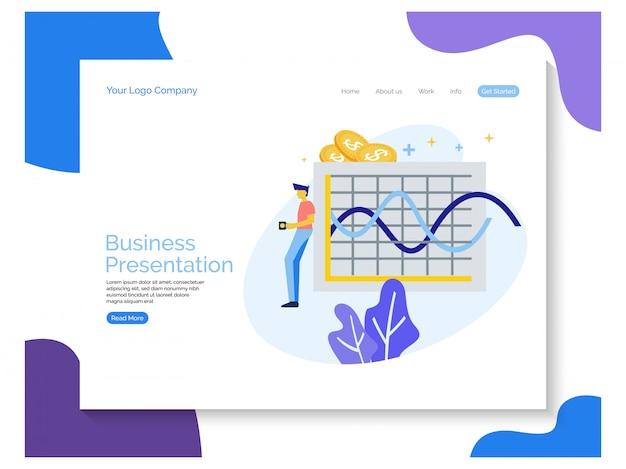 Page de destination de la présentation commerciale Vecteur Premium