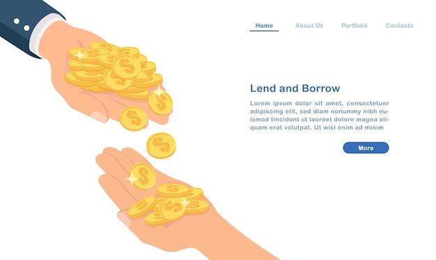 Page De Destination Prêter Et Emprunter De L'argent Concept Pièces D'or Et Les Mains Des Gens Vecteur Premium