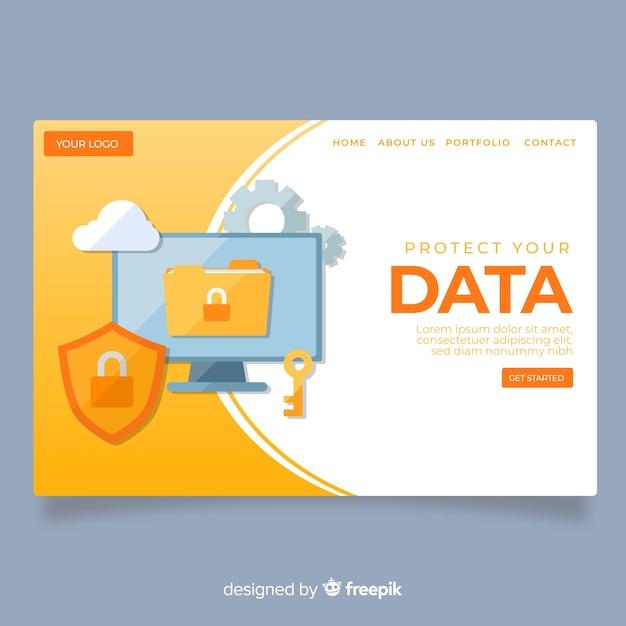 Page de destination de protection des données Vecteur gratuit