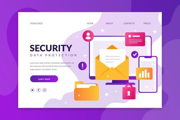 Page De Destination De Protection Des Données Vecteur Premium