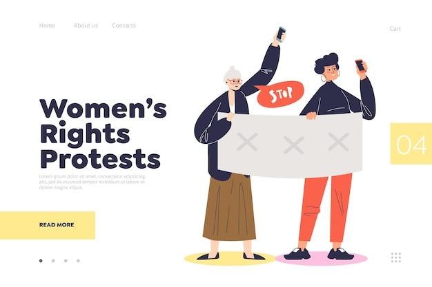 Page De Destination De Protestation Des Droits Des Femmes Avec Des Femmes Tenant Des Bannières Politiques Vecteur Premium