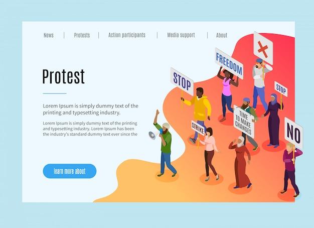 Page De Destination De Protestation Politique Avec Texte Et Informations Visuelles Sur Le Motif De La Manifestation Des Personnes Et La Grève Isométrique Vecteur gratuit