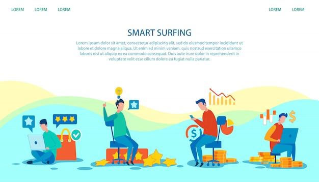 Page de destination publicité smart surfing technology Vecteur Premium