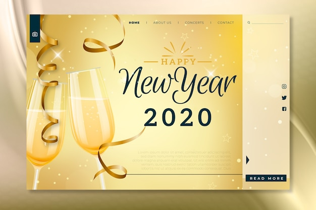 Page de destination réaliste du nouvel an Vecteur gratuit