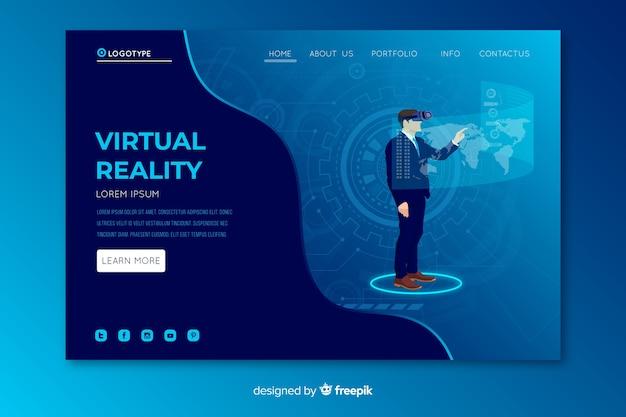 Page de destination de la réalité virtuelle Vecteur gratuit