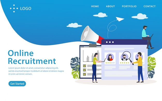 Page de destination de recrutement en ligne, modèle de site web, facile à modifier et à personnaliser, illustration vectorielle Vecteur Premium