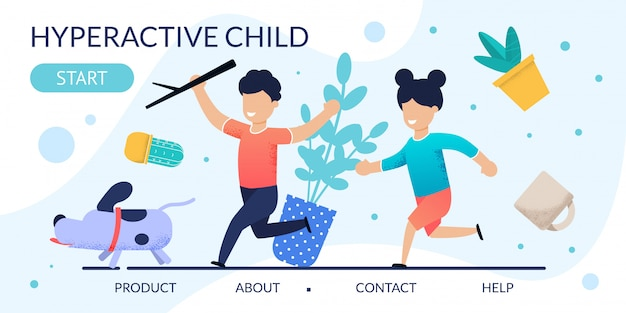 Page de destination relative au comportement problématique des enfants hyperactifs Vecteur Premium