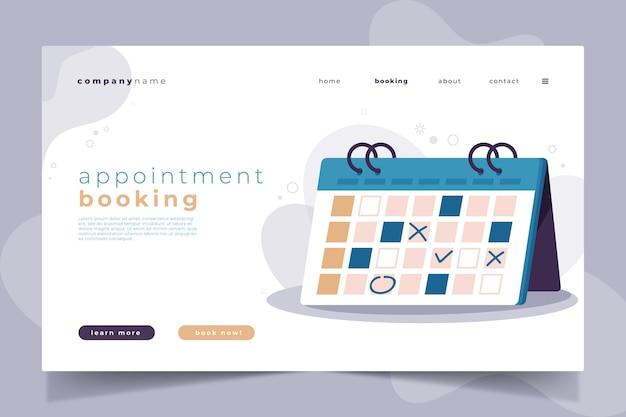 Page De Destination De Réservation De Rendez-vous Vecteur Premium