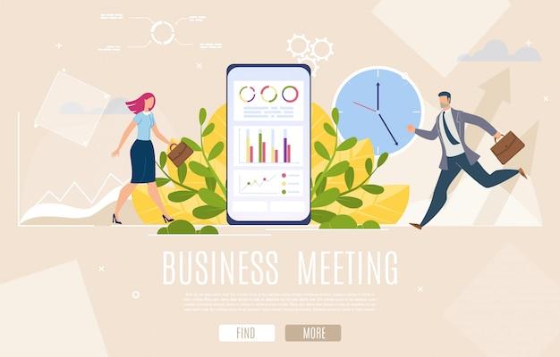 Page de destination de la réunion des chefs d'entreprise Vecteur Premium