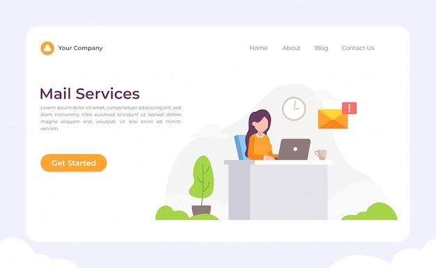 Page de destination des services de courrier Vecteur Premium