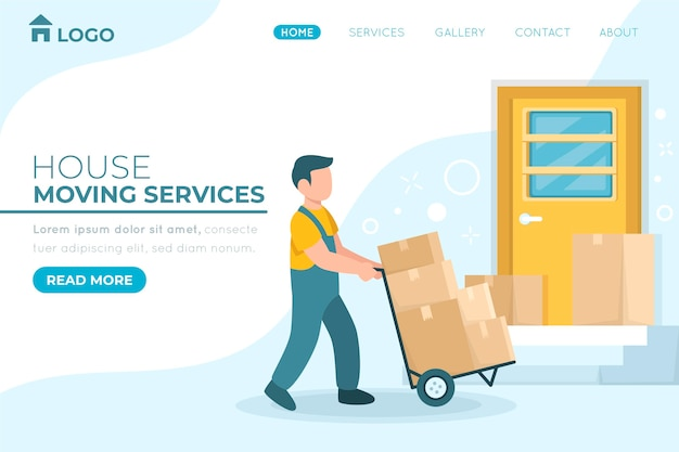 Page De Destination Des Services De Déménagement Avec Boîtes Vecteur Premium