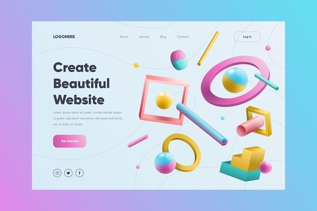 Page De Destination De Site Web Créatif Avec Des Formes Illustrées Vecteur gratuit