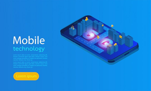 Page de destination smart city 5g Vecteur Premium