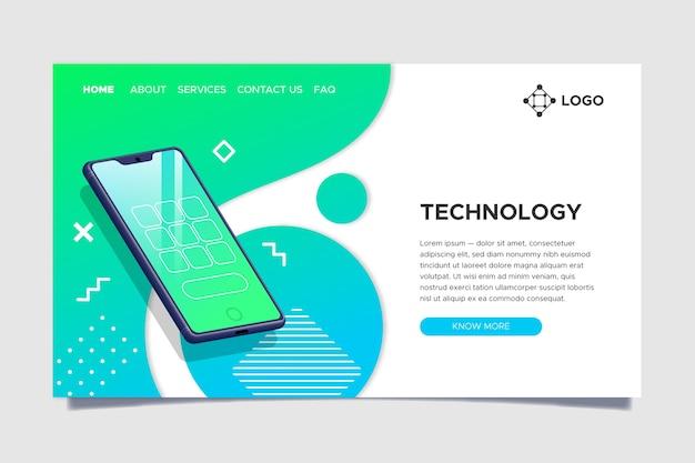 Page de destination avec smartphone Vecteur gratuit