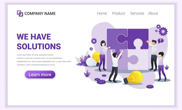 Page De Destination Des Solutions Métier. V Vecteur Premium