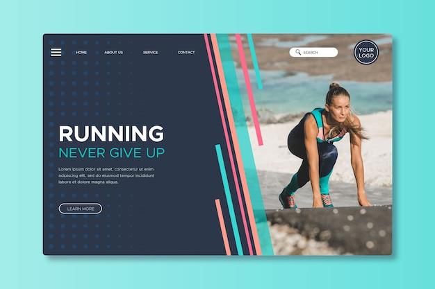 Page de destination sportive avec image Vecteur gratuit