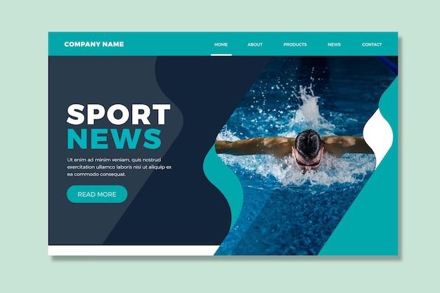 Page de destination sportive avec modèle d'image Vecteur gratuit