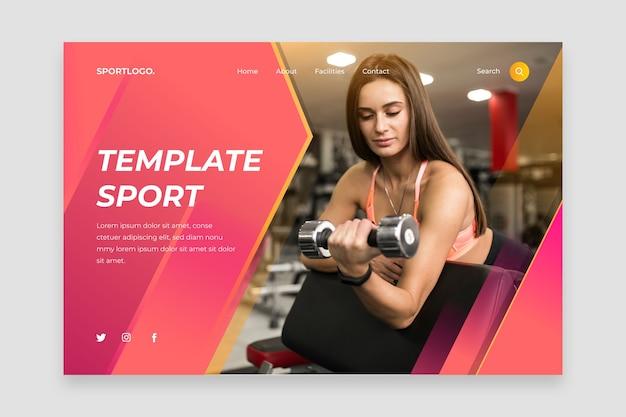 Page de destination sportive avec photo Vecteur gratuit